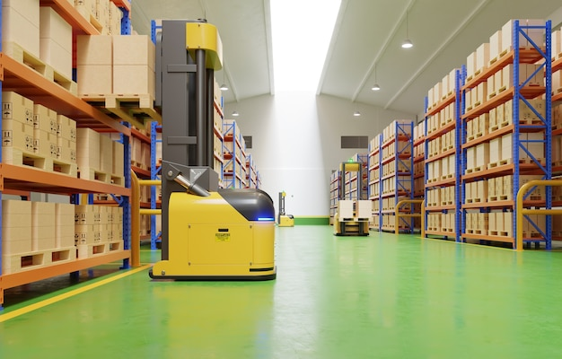 Agv robots efficiently sorting hundreds of parcels per hour(automated guided vehicle). 3d rendering