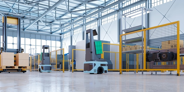 Agv robots efficiently sorting hundreds of parcels per hour(automated guided vehicle) agv.3d rendering