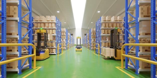 Agvフォークリフトトラック-安全な倉庫での輸送。