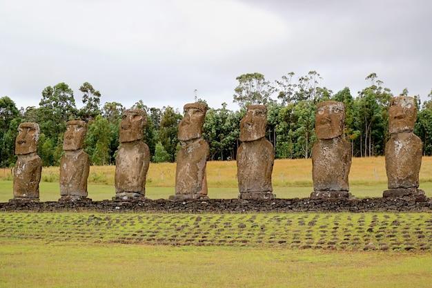 太平洋、イースター島、チリ、南アメリカに目を向けるモアイ像のグループが行うアフアキビ式典プラットフォーム