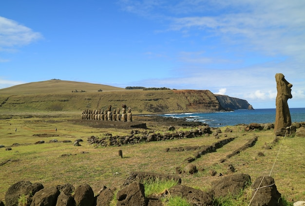 Ahu tongariki, the largest ahu on easter island with pacific ocean on its back, chile