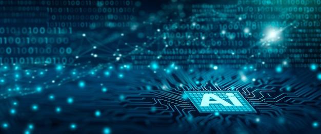 Набор микросхем ai на плате компьютера искусственный интеллект интеллектуальный анализ данных и глубокое обучение