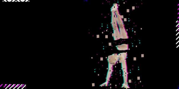 Ai cyber style cyber girl на модном микроволновом неоновом цветном фоне, synthwave neon cyber matrix.