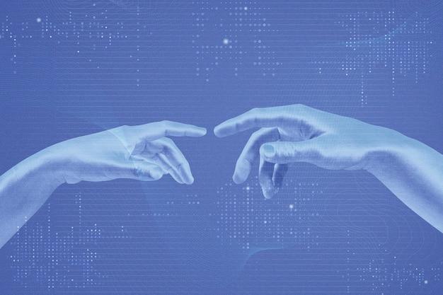 로봇 손이 혼합된 미디어가 있는 파란색의 ai 디지털 변환 배경