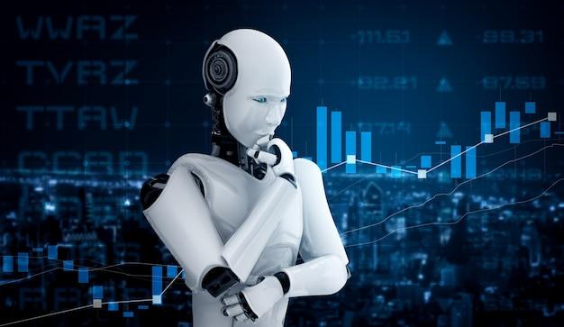 Робот-гуманоид с ии анализирует биржевую торговлю на фондовом рынке