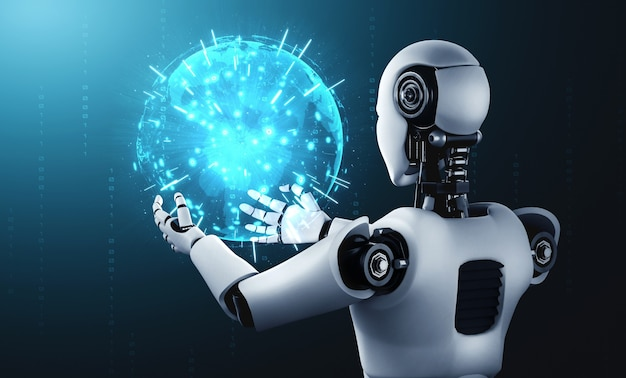 Ai humanoid robot holding hologram screen shows concept of global communication