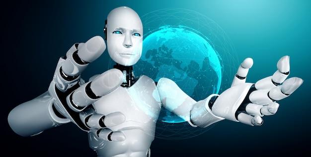 Робот-гуманоид с искусственным интеллектом, держащий голограмму, показывает концепцию глобальной сети связи