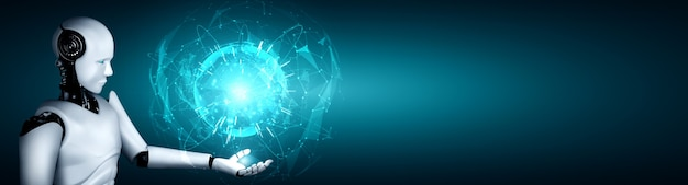 Робот-гуманоид с искусственным интеллектом, держащий экран с голограммой, демонстрирует концепцию глобальной коммуникации