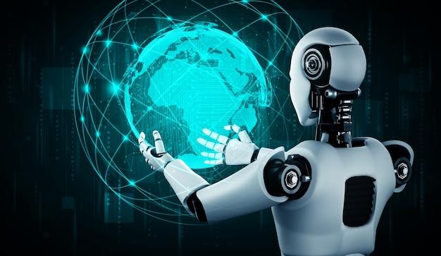 홀로그램 화면을 들고 Ai 휴머노이드 로봇은 글로벌 커뮤니케이션의 개념을 보여줍니다 프리미엄 사진