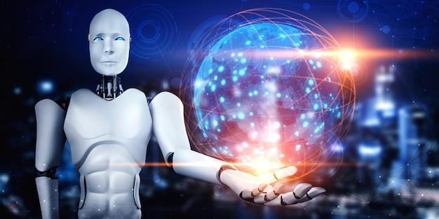 ホログラム画面を保持するaiヒューマノイドロボットは、グローバル通信の概念を示しています