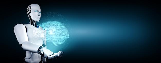 Робот-гуманоид ии держит экран виртуальной голограммы, демонстрирующий концепцию мозга ии