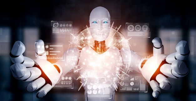 Робот-гуманоид ai держит виртуальную голограмму