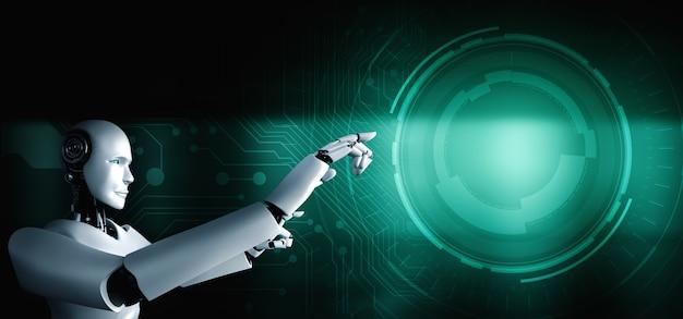 Робот-гуманоид с искусственным интеллектом касается пальцем копировального пространства