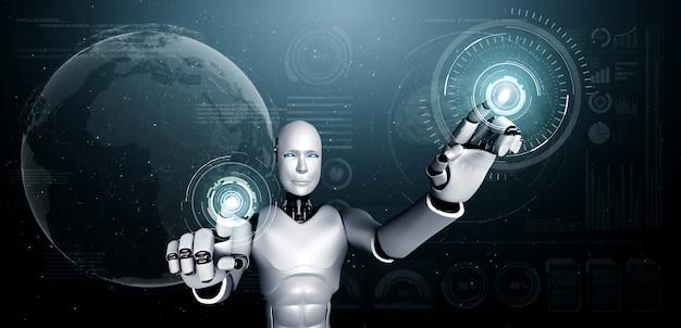 Робот-гуманоид ии, касающийся экрана голограммы, демонстрирует концепцию глобальной коммуникации
