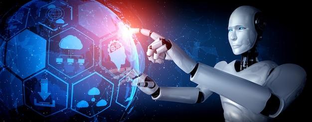Робот-гуманоид с искусственным интеллектом, касающийся экрана голограммы, демонстрирует концепцию глобальной коммуникации