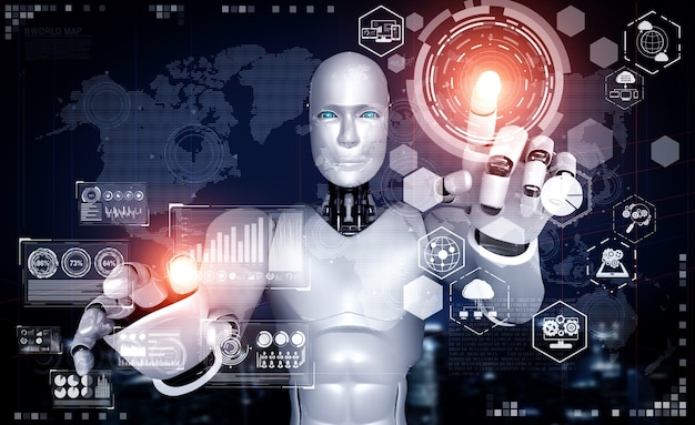 Робот-гуманоид с ии, касающийся экрана голограммы, демонстрирует концепцию глобальной коммуникации