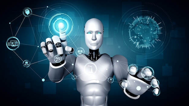 Робот-гуманоид ai, касающийся экрана голограммы, показывает концепцию