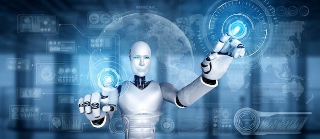 Ai humanoid robot touching virtual hologram screen showing concept of big data