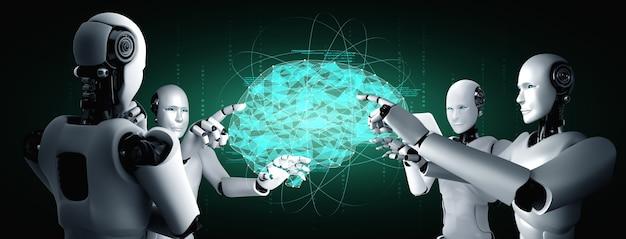 Ai 두뇌의 개념을 보여주는 가상 홀로그램 화면을 만지는 ai 휴머노이드 로봇