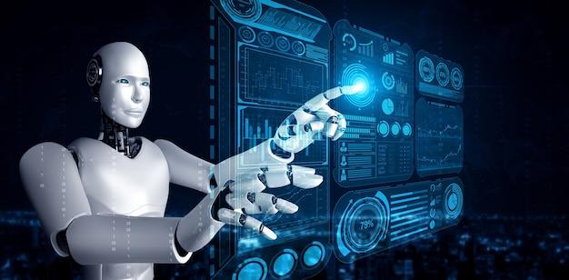 빅 데이터의 개념을 보여주는 가상 홀로그램 화면을 터치하는 ai 휴머노이드 로봇