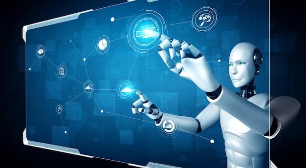 Робот-гуманоид ии касается экрана виртуальной голограммы, демонстрирующего концепцию больших данных