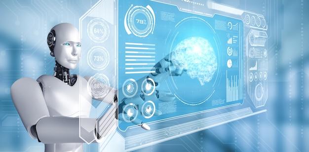 Робот-гуманоид с искусственным интеллектом касается экрана виртуальной голограммы