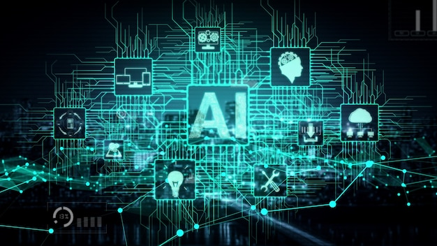 Ai learning and artificial intelligence conceptual .
