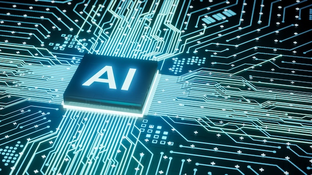 Ai microprocessor on motherboard computer circuit, artificial intelligence integrated inside central processors unit or cpu chip, 3d rendering futuristic digital data technology concept background