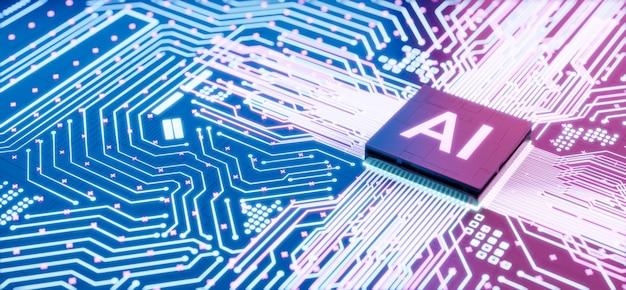 마더보드 컴퓨터 회로의 ai 마이크로프로세서, 중앙 프로세서 장치 또는 cpu 칩 내부에 통합된 인공 지능, 3d 렌더링 미래 디지털 데이터 기술 개념 배경