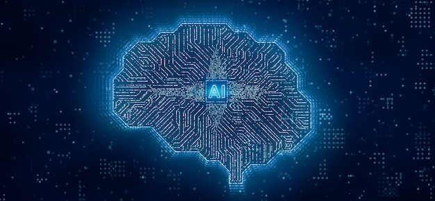 Ai 마이크로프로세서는 뇌 회로 컴퓨터, 중앙 프로세서 장치 또는 cpu 내부의 인공 지능, 3d 렌더링 미래 딥 러닝 기술 3d 일러스트레이션을 통해 디지털 데이터를 전송합니다.
