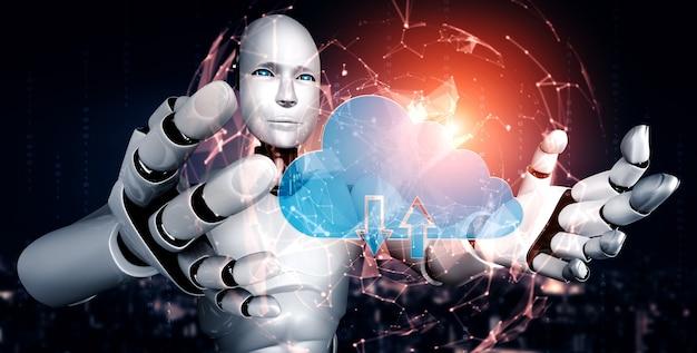 클라우드 컴퓨팅 기술을 사용하여 온라인 서버에 데이터를 저장하는 ai 로봇. 머신 러닝 프로세스에 의해 분석 된 클라우드 정보 저장의 미래 개념. 3d 렌더링 그림.