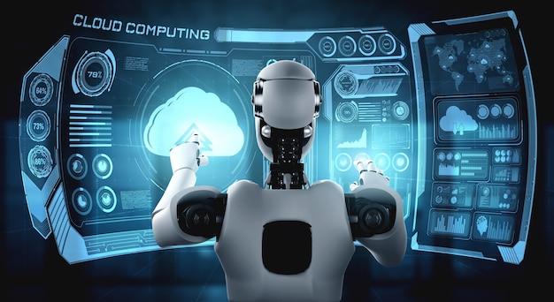 Робот ai, использующий технологию облачных вычислений для хранения данных на онлайн-сервере. футуристическая концепция облачного хранения информации проанализирована в процессе машинного обучения. 3d визуализация иллюстрации.