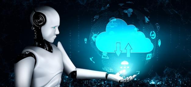クラウドコンピューティング技術を駆使してオンラインサーバーにデータを保存するaiロボット