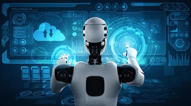 Робот искусственного интеллекта, использующий технологию облачных вычислений для хранения данных на онлайн-сервере Premium Фотографии