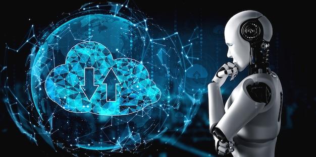 クラウドコンピューティング技術を使用してオンラインサーバーにデータを保存するaiロボット。