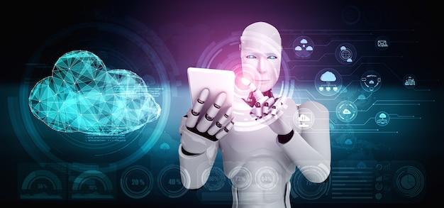 Робот искусственного интеллекта, использующий технологию облачных вычислений для хранения данных на онлайн-сервере