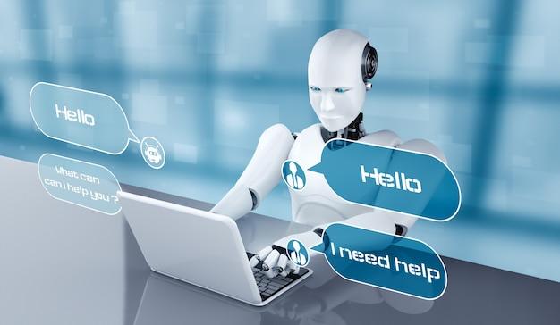 Робот ai с помощью компьютера, чтобы поговорить с клиентом. концепция чат-бота