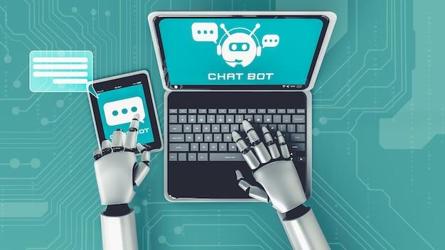 Робот ai, использующий компьютер, чтобы поговорить с клиентом. концепция чат-бота