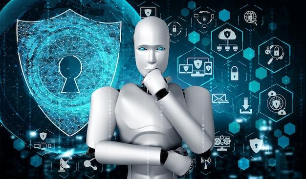Робот искусственного интеллекта, использующий кибербезопасность для защиты конфиденциальности информации