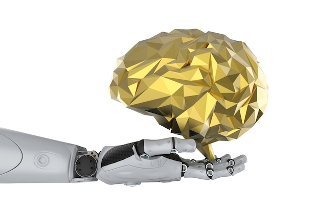 Искусственный интеллект с концепцией мозга с роботом-рендерингом 3d с золотым многоугольным мозгом