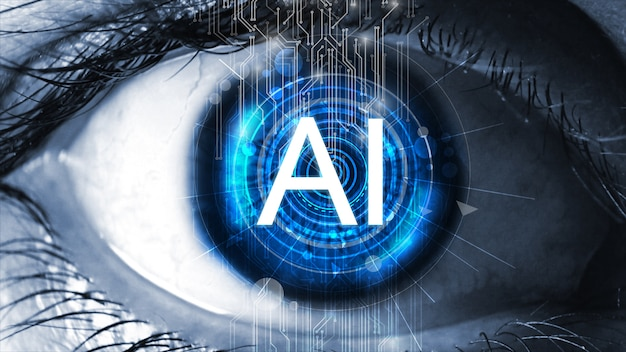 人間の目に埋め込まれたセンサー。人工知能(ai)コンセプト。