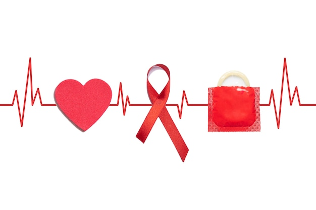 Aid red ribbon, condom and heart on medical lifeline on a white