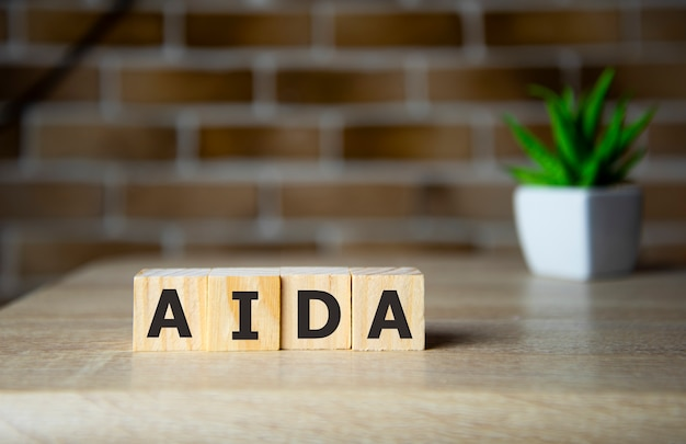 Aida word on wooden cubes