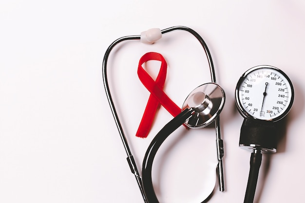 Aids awareness sign red ribbon world aids day   decemberhiv symbol of awareness charity support in d...