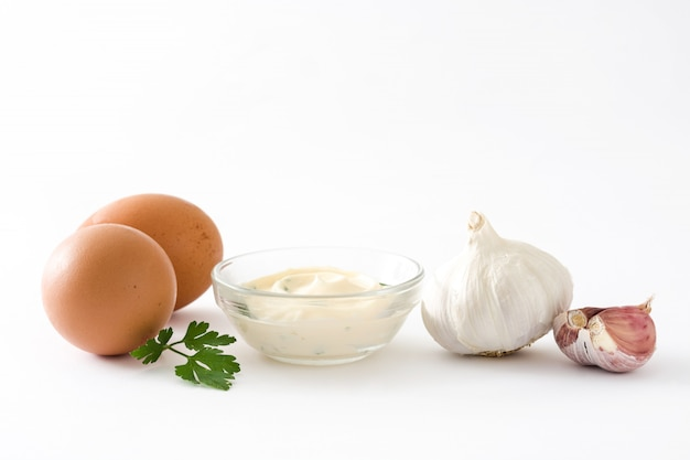 Aioli sauce and ingredients isolated