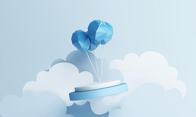 Воздушный шар бумажный художественный стиль и подставка для продуктов с голубым пастельным фоном неба 3d-рендеринга