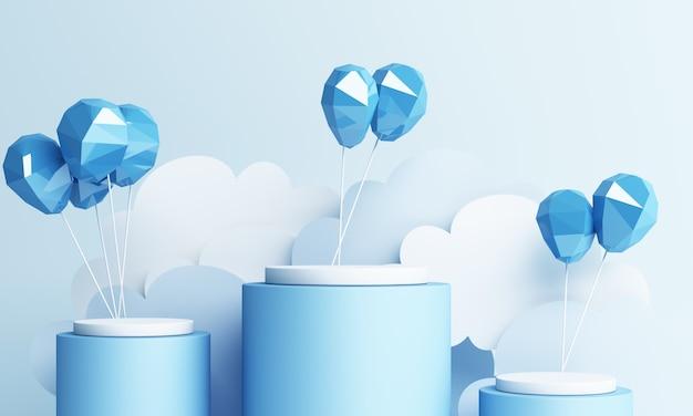 블루 파스텔 하늘 배경 3d 렌더링 공기 풍선 종이 아트 스타일 및 제품 스탠드