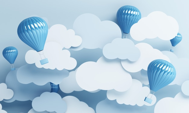 블루 파스텔 하늘 배경 3d 렌더링 공기 풍선 종이 아트 스타일