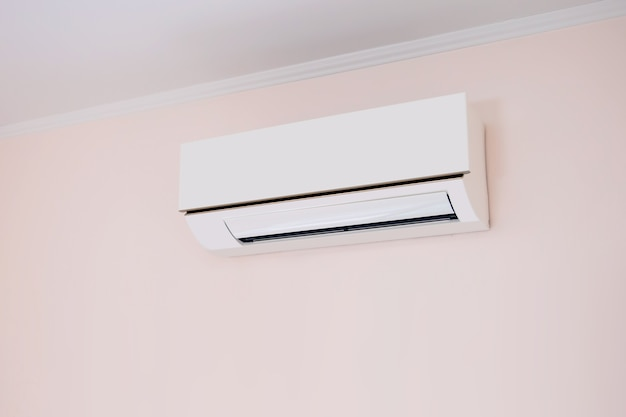 Air conditioners split type wall mounted in home room.