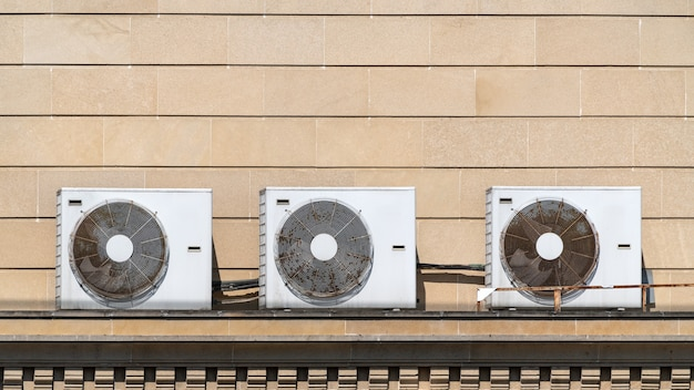 Air conditioning units on house roof